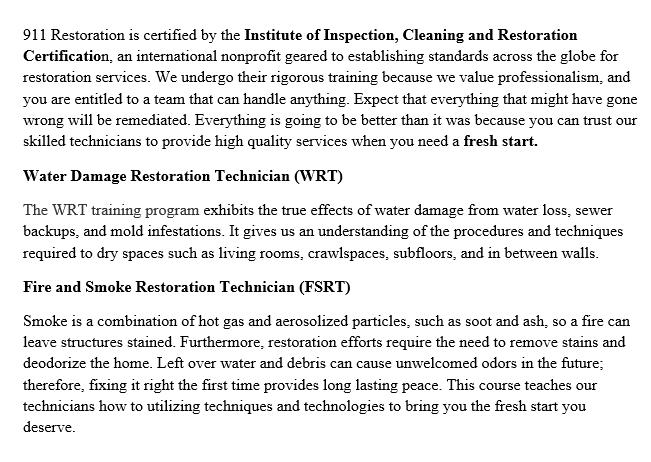 911 Restoration Rockland Certificates